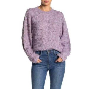 Lush Marled Cable Ribbed Knit Pullover Sweater
